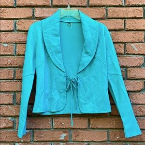 One Girl Who Leather & Knit Tie Front Jacket